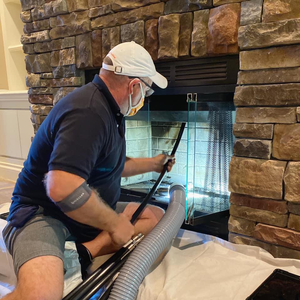 chimney sweeping inside firebox